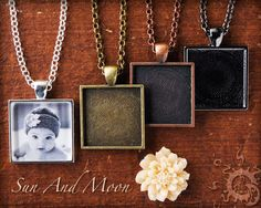 Diy pendant kit make cute photo pendants 1 inch circle bezel make keepsake photo pendants and photo necklaces with this sun and moon craft kits large diy blank pendant kit with rings this diy kit is perfect if youre aloadofball Gallery