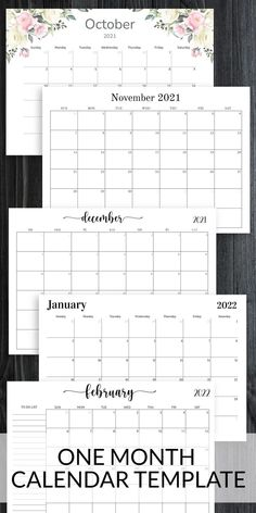 This version of One Month Calendar template will be great for your home, school, club, business, or other organization. Decorate it with festive colors to personalize your calendar. You can use this template as separate printout or as a part of your binder or digital planner. #calendar #template #sheets #month #monthly