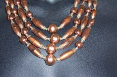 Stunning copper bronze brown 4 strand necklace by VintageJoyON