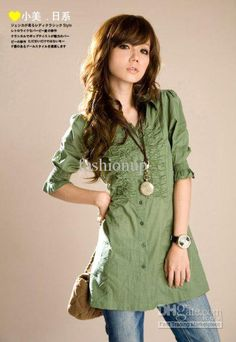 83d4325506d New Arrival Sexy Women`s Shirt Fashion Green Lapel Ladies Cotton Shirts  Clothing AMY-C003