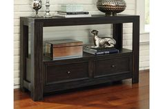 Ashley Furniture Signature Design Gavelston Sofa Table Rubbed Black * Hope you actually do enjoy the image. (This is our affiliate link) Black Sofa Table, Skinny Console Table, Ashley Sofa, Primitive Furniture, Diy Furniture, Sofa Tables, Console Tables, At Home Store, Signature Design