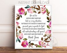 Scripture Wall Art Do Not Be Anxious About Anything Philippians Bible Verse Print Christian Quote Print Bible Wall Art Printable Bible Verse Art, Bible Verse Wall Art, Printable Bible Verses, Printable Wall Art, Christian Wall Art, Christian Quotes, Scriptures For Kids, Peace Of God, Philippians 4