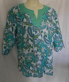 Womens Plus Top tunic sz 2x Linen Blend Paisley Aqua/olive/white $24  Susan Bristol