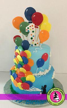 1st birthday cake   balloons   bright colors   silhouette   Sugar Divas Cakery