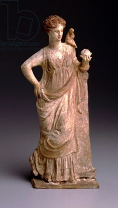 Aphrodite with Eros (terracotta). Greek / Corcoran Gallery of Art, Washington D.C., USA / William A. Clark Collection / The Bridgeman Art Library