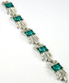 Trifari 'Alfred Philippe' Emerald and Diamante Starburst Baguettes Five Element Bracelet