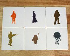 Star Wars Letterpress Coasters - Set of 6 - Luke Skywalker, Princess Leia, Chewbacca, Boba Fett, Wicket Ewok, Probe Droid