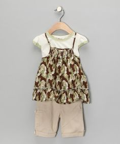 $15.99!  Take a look at this Green Camo Layered Swing Top & Pants - Toddler & Girls   by Forever Young by Young Hearts on #zulily today!