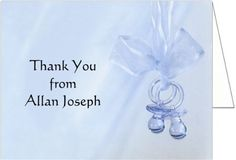 """#manythings Baby Thank You Cards: This fold over note card, """" #Blue #Binkies"""" features an adorable set of baby's pacifiers hanging by a lacey ribbon. The design is..."""