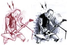 James Hetfield of Metallica. Color pencil sketch on left, inks and marker tones on right.