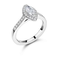 Marquise diamond engagement ring with pave set halo and shoulders available today in our Voltaire Diamond offices  Our halo rings start at prices from 2000! Suitable for all budgets
