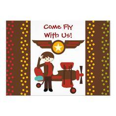 Customized Brunette Boy Pilot Birthday Invitations