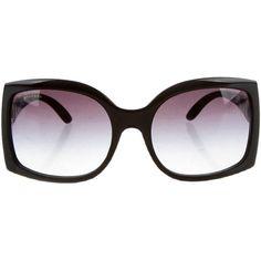 Bvlgari Crystal Embellished Sunglasses ($175) ❤ liked on Polyvore featuring accessories, eyewear, sunglasses, black, gradient lens sunglasses, bulgari, bulgari sunglasses, bulgari glasses and bulgari eyewear