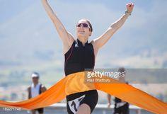 Runner crossing race finish line