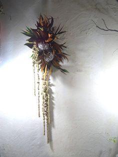 フライングリース Modern Flower Arrangements, Christmas Arrangements, Floral Wall, Fall Wreaths, Dried Flowers, Flower Decorations, Flower Art, Floral Design, Creations
