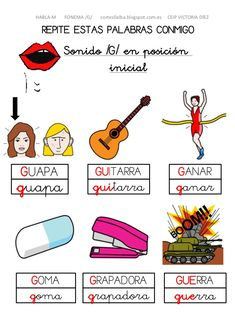 Resultado de imagen para palabras con el fonema g