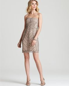 Adrianna Papell Beige Strapless Dress Embellished