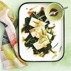 Chilled tofu with ginger-sesame sauce - Chatelaine Tofu Recipes, Diet Recipes, Vegetarian Recipes, Cooking Recipes, Recipies, Healthy Recipes, Easy Summer Dinners, Fast Dinners, Veggie Dinners