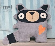 raccoon sewing pattern softie toy woodland animal...