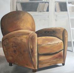 peinture à l'huile Le fauteuil 100 x 100  http://www.celinedeshayes.fr