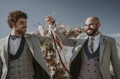 Grooms in Patterened Waistcoats at Spanish Elopement | By Mas Positivo Producciones | Elopement | Destination Wedding | Intimate Wedding | Spanish Wedding | Gay Wedding | Groom and Groom | Mr & Mr | Blush Wedding Decor | Groom Wedding Suit | Groom Wedding Outfit |