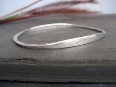 Sterling silver oval bangle  heavy sterling silver by ElfiRoose  **the twin to the gold  #silverbangle  #bracelet  #jewellery