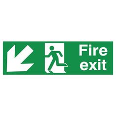 Fire Exit With Directional Arrow Down Left Sign