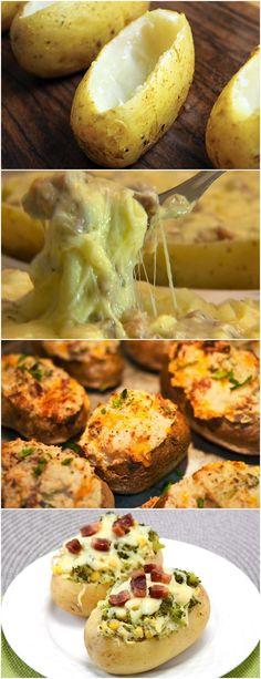 BATATA ASSADA RECHEADA É UMA ÓTIMA OPÇÃO PARA SEU ALMOÇO ESPECIAL!! VEJA AQUI>>>Lave bem as batatas com casca e leve para cozinhar em água com sal, não deixe cozinhar muito para não arrebentar na hora de rechear, assim que a água ferver não deixe no fogo por mais de 10 minutos #BATATARECHEADA#ASSADOS Baked Potato, Potatoes, Baking, Ethnic Recipes, Roasts, Fire, Cook, Food Cakes, Potato