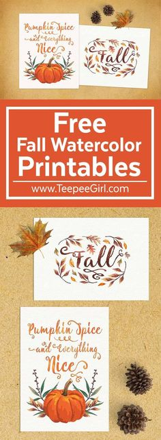 These Free Fall Watercolor Printables are the perfect fall decor! They also make great gifts & look great on gallery walls. Get your Free Watercolor Fall Printables at www.TeepeeGirl.com!