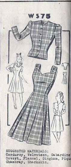 1940s One Piece Dress or Jumper  and Jacket