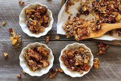 A delicious mix of nuts, seed, shredded coconut, and dried fruit with a little added honey, maple syrup and pumpkin pie spice. Awesome and easy paleo granola