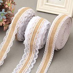 5M width 2.5cm Natural Jute Burlap Hessian Ribbon with Lace Trims Tape Rustic Wedding Decor Wedding Cake Topper – AUD $ 22.85