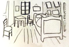 Drawing for a lino print of Van Gogh's bedroom - Photo © 2009 Marion Boddy-Evans. Licensed to About.com, Inc.