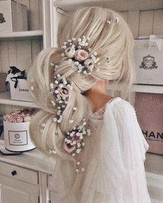 20 Long Wedding Hairstyles for Bride from Elstiles, Peinados, Wedding Hairstyle Ideas- Ulyana Aster Wedding Hairstyles For Women, Bride Hairstyles, Pretty Hairstyles, Hairstyle Ideas, Hairstyles Pictures, Teenage Hairstyles, Wedding Hair Inspiration, Mod Wedding, Hair Wedding