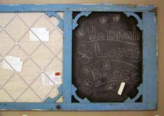 message board from old screen door