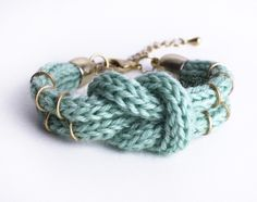 Knitted Double-Knot-Bracelet in mint. $17.00, via Etsy.