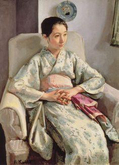 sitting girl in kimono