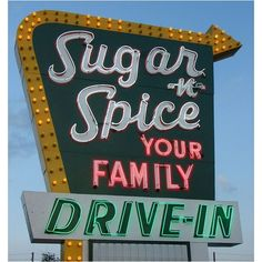 Sugar 'n' Spice Vintage Neon Sign ❤ liked on Polyvore featuring home and kitchen & dining