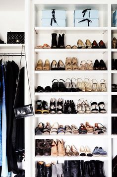 Tips on how to declutter your home with the KonMari method. Shoe organization in shelves. Master Closet, Closet Bedroom, Closet Space, Shoe Closet, Master Bedroom, Entryway Closet, Rustic Entryway, Master Bath, Style Victoria Beckham