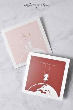 Maak jouw eigen geboortekaartje. Hier zie je wat een kleur of lettertype al met een kaartje kan doen. Je kan met de uitgebreide beeldbank en je eigen kleuren een heel persoonlijk meisjeskaartje maken. #meisjeskaartje #gratisproefkaart #silhouette #wereldbol #hip #trendy #geboortekaartjes #babykaartjes #babyaankondiging