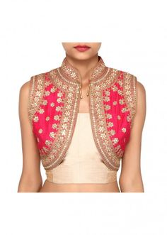 $139.92 Pink shrug features with mirror embroidery only on Kalki
