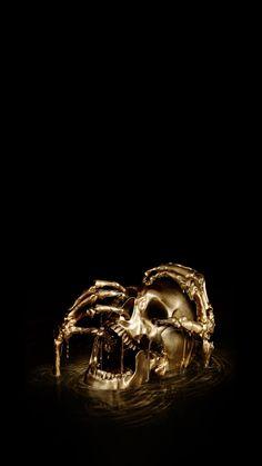Black Wallpaper Iphone, Skull Wallpaper, Gold Wallpaper, Black And Gold Aesthetic, Black Aesthetic Wallpaper, Anne Bonny, Skull Artwork, Canvas Artwork, Pirate Tattoo