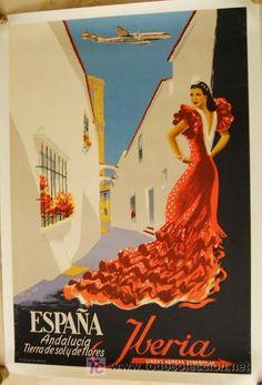 Iberia-Iberia Lineas Aereas de España, Andalucia Tierra de Sol Y Flores,publicidad, original del año
