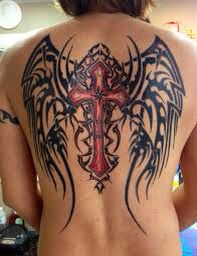 Like this tribal wings with cross!