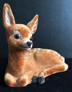 Vintage-9-034-x-7-034-Handwork-Kunstlerschutz-Flocked-Fuzzy-Reindeer-Bambi-Deer