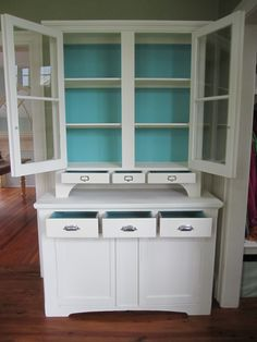 A Step Back Hutch finished in Old White Chalk Paint® decorative paint by Annie Sloan and a custom mix of Provence, Florence & Old White for the insides | By stockist Sea Rose Cottage of Bristol, RI