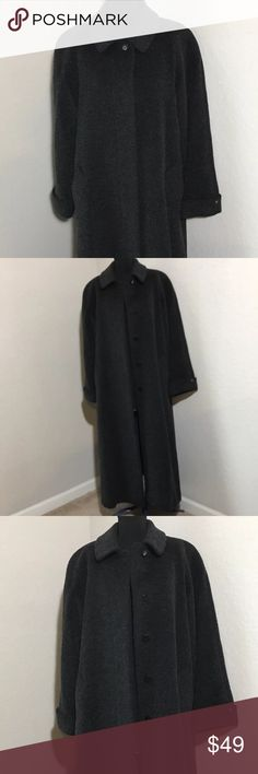 "Anne Klein Brushed Wool Mohair Gray Full Coat 6 Women's Anne Klein brushed wool mohair blend charcoal gray full length Winter trench coat with button closures. Sz 6 Measurements 22.5"" armpit to armpit, 24"" sleeve, 49"" shoulder to hem. Excellent condition no flaws Anne Klein Jackets & Coats"
