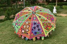 Find many great new & used options and get the best deals for New Indian Multi Color Peacock Embroidery Patio Garden Umbrella Wedding Umbrella at the best online prices at eBay! Fancy Umbrella, Large Umbrella, Umbrella Wedding, Shade Umbrellas, Umbrellas Parasols, Umbrella Decorations, Bohemian Beach Wedding, Indian Theme