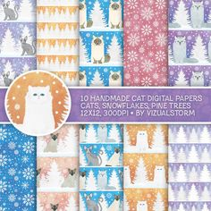 Winter Cat Digital Paper, Winter Pet Scrapbooking Cute Holiday Kitty Cat Backgrounds, Snowflakes, Christmas Cats, Pine Trees White Christmas by VizualStorm on Etsy https://www.etsy.com/uk/listing/491095899/winter-cat-digital-paper-winter-pet