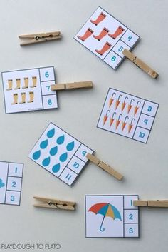 Over 25 sets of themed count and clip cards… great for preschool and kindergarten math centers! Over 25 sets of themed count and clip cards… great for preschool and kindergarten math centers! Weather Activities For Kids, Preschool Weather, Counting Activities, Preschool Learning Activities, Spring Activities, Math For Kids, Preschool Activities, Preschool Centers, Weather Crafts